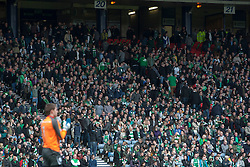 Hibernian fans leaving the stadium after Falkirk's third goal..Hibernian 4 v 3 Falkirk, William Hill Scottish Cup Semi Final, Hampden Park..©Michael Schofield..
