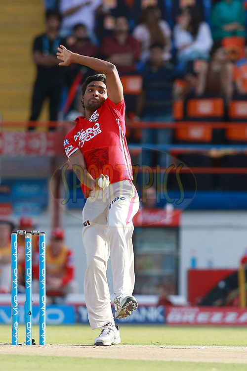 Sandeep Sharma of KXIP bowls during match 26 of the Vivo 2017 Indian Premier League between the Gujarat Lions and the Kings XI Punjab held at the Saurashtra Cricket Association Stadium in Rajkot, India on the 23rd April 2017<br /> <br /> Photo by Rahul Gulati - Sportzpics - IPL