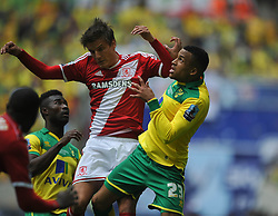 Norwich Martin Olsson, Battles with Middlesbrough Jelle Vossen, Middlesbrough v Norwich, Sky Bet Championship, Play Off Final, Wembley Stadium, Monday  25th May 2015