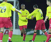 Watford, England. <br /> Vicarage Road.<br /> Football - Worthington Cup 9/10/01<br /> Watford v Bradford:<br /> Micah Hyde, is congratulated by his team mates for the first goal.   [Mandatory Credit:Peter SPURRIER/Intersport Images]
