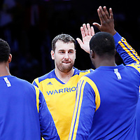 11 April 2014: Golden State Warriors center Andrew Bogut (12) is seen during the players introduction prior to the Golden State Warriors 112-95 victory over the Los Angeles Lakers at the Staples Center, Los Angeles, California, USA.