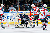 KELOWNA, CANADA - APRIL 3: Taran Kozun #35 of the Seattle Thunderbirds misses a save against the Kelowna Rockets on April 3, 2014 during Game 1 of the second round of WHL Playoffs at Prospera Place in Kelowna, British Columbia, Canada.   (Photo by Marissa Baecker/Getty Images)  *** Local Caption *** Taran Kozun;