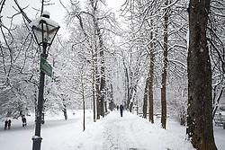 07.02.2018, Innenstadt, Graz, AUT, Schnee in Graz, im Bild eine Allee im Stadtpark am 7. Februar 2018, EXPA Pictures © 2018, PhotoCredit: EXPA/ Erwin Scheriau