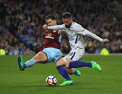 Olivier Giroud of Chelsea (R) has a shot at goal - Mandatory by-line: Jack Phillips/JMP - 19/04/2018 - FOOTBALL - Turf Moor - Burnley, England - Burnley v Chelsea - English Premier League