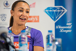 © Licensed to London News Pictures. 26/07/2013. London, United Kingdom. Jessica Ennis-Hill of Great Britain speak to members of the media during a press conference on day one of the Sainsbury's Anniversary Games - IAAF Diamond League at the Grange Tower Bridge Hotel. Photo credit : Justin Setterfield/LNP