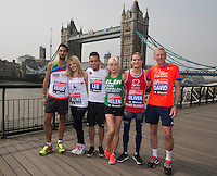 Virgin Money London Marathon 2015<br /> Left to Right<br /> Hugo Taylor-UK ( in Made in Chelsea)  <br /> Aliki Chrysochou from Cyprus (Soprano)<br /> Lee Hendrie-UK (Footballer England & Aston Villa)<br /> Helen George-UK (Star of the the Midwives)<br /> Oliver Proudlock-UK (Made in Chelsea)<br /> David Hemery-UK (Olympic 400m Hurdlles runner)<br /> <br /> Some of the celebrities  competing in the Virgin Money London Marathon<br /> <br /> Photo: Bob Martin for Virgin Money London Marathon<br /> <br /> This photograph is supplied free to use by London Marathon/Virgin Money.