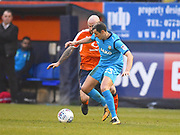 Barnet player Alex Nicholls fights for the ball in the first half during the EFL Sky Bet League 2 match between Luton Town and Barnet at Kenilworth Road, Luton, England on 24 March 2018. Picture by Ian  Muir.
