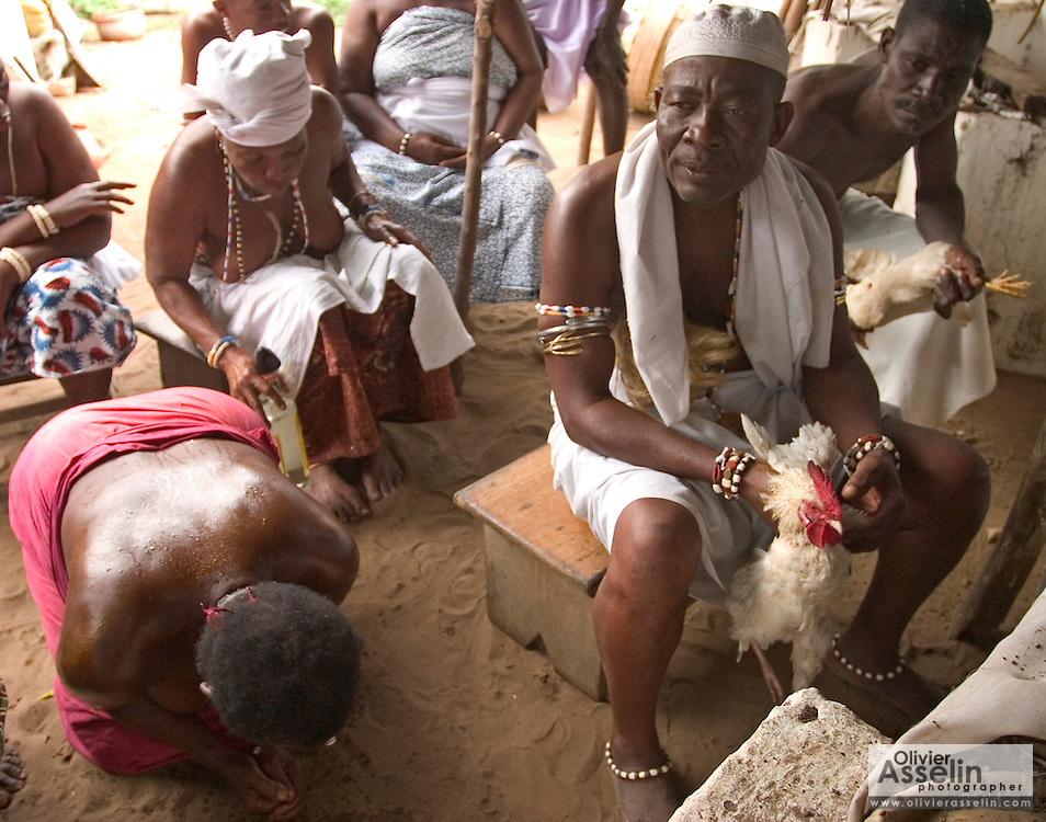 "Head priest about to sacrifice a chicken during a ""coming out"" ceremony at a fetish shrine in Aflao, Volta Region, Eastern Ghana. A woman was released after spending three months in a small, dark room, hoping that she'd then be able to find a husband. Despite most Ghanaians being adamant followers of christianism or islam, many of them still maintain traditional beliefs. When facing a problem of any nature, some people will visit a local fetish shrine, looking for help. The main priest will consult the oracles and tell the person in need what has to be done for the problem to go away. People will typically be asked to ""serve"" the shrine for weeks, sometimes months, as their families pay the priest for their upkeep."