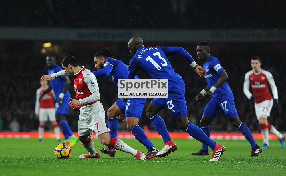 Henrikh Mkhitaryan of Arsenal is fouled by Ashley Williams of Everton during Arsenal vs Everton, Premier League, 03.02.18 (c) Harriet Lander | SportPix.org.uk