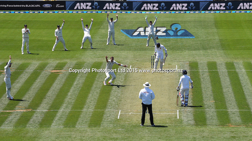 Tim Southee appeals unsuccessfully on day 1 of the 2nd cricket test match between New Zealand Black Caps and Sri Lanka at Seddon Park in Hamilton, New Zealand. Friday 18 December 2015. Copyright photo: Andrew Cornaga / www.photosport.nz