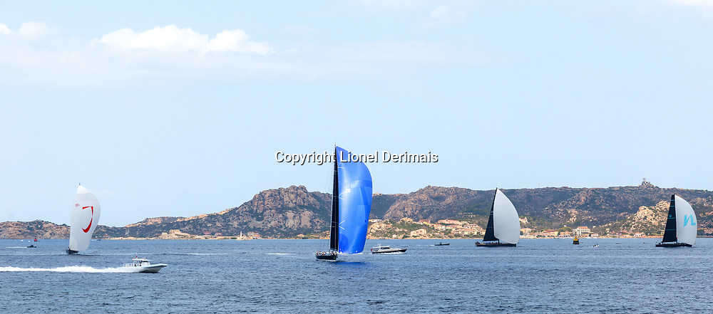 From Left to Right: J ONE, MAGIC CARPET 2, SORCERESS and NAHITA during the Rolex Maxi Cup 2017, Costa Smeralda, Porto Cervo Yacht Club Costa Smeralda (YCCS), Sardinia, Italy.
