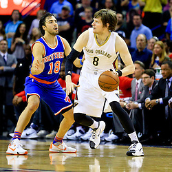 Mar 28, 2016; New Orleans, LA, USA; New Orleans Pelicans forward Luke Babbitt (8) drives past New York Knicks guard Sasha Vujacic (18) during the first quarter of a game at the Smoothie King Center. Mandatory Credit: Derick E. Hingle-USA TODAY Sports