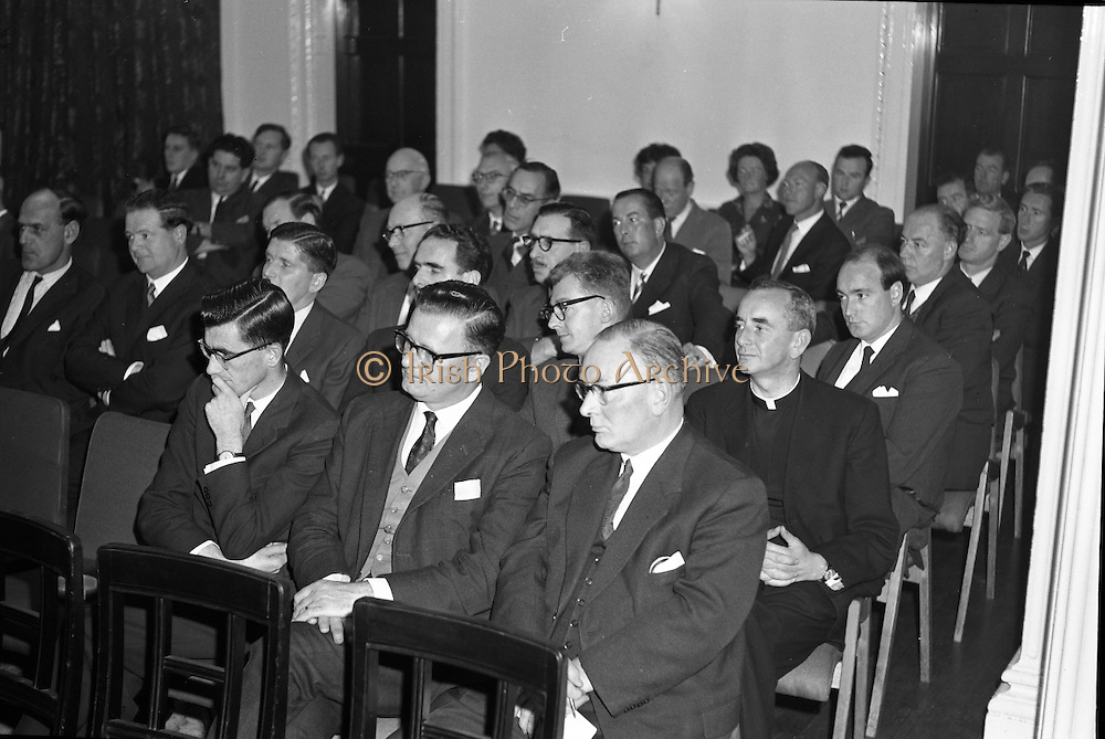 "Dr. Dichter Lecture at the Shelbourne Hotel..1961..02.10.1961..10.02.1961..2nd October 1961..Ernest Dichter is an Austrian-American psychologist and marketing expert known as the ""father of motivational research. He was invited by P Owen Ltd to give a lecture on his methods at the Shelbourne Hotel, Dublin...Image shows the invited audience who attended the Dr Dichter lecture at the Shelbourne Hotel."