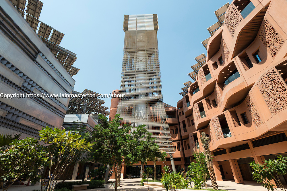 Wind tower at Masdar City new research centre incorporating Masdar Institue of Science and Technology for developing clean and renewable energy in Abu Dhabi UAE