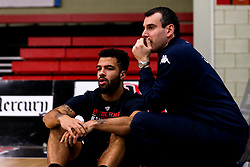 Lewis Champion of Bristol Flyers with Bristol Flyers head coach, Andreas Kapoulas - Photo mandatory by-line: Robbie Stephenson/JMP - 11/01/2019 - BASKETBALL - Leicester Sports Arena - Leicester, England - Leicester Riders v Bristol Flyers - British Basketball League Championship