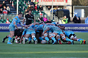 Scrum action during the Premiership Rugby Cup match between Saracens and Worcester Warriors at Allianz Park, Hendon, United Kingdom on 11 November 2018.