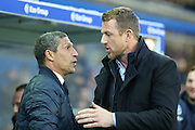 Brighton Manager, Chris Hughton and Birmingham City first team manager Gary Rowett during the Sky Bet Championship match between Birmingham City and Brighton and Hove Albion at St Andrews, Birmingham, England on 5 April 2016. Photo by Simon Davies.