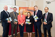 Repro Free: Cllr John Walsh, Deputy Mayor Cllr Mike Cubbard ,  Cllr Terry o Flaherty, Threshold  Chairperson  Aideen Hayden, Minister Sean Kyne and Regional Manager Diarmuid O'Sullivan  Threshold at the launch of Threshold: The Galway Tenancy Protection Service annual report  by Minister for Community Development, Natural Resources and Digitial Development  Sean Kyne in Galway.  Photo:Andrew Downes, xposure .