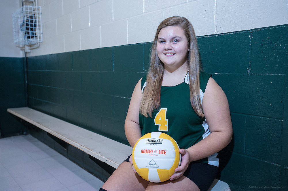 Katelyn Watts, 15, an eighth-grader at St. Rita Catholic School, plays front row on the volleyball team and hopes to go to either Presentation or Mercy Academy next year. October 3, 2014