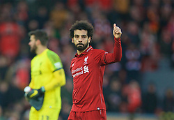 LIVERPOOL, ENGLAND - Saturday, February 9, 2019: Liverpool's goalscorer Mohamed Salah celebrates after the 3-0 victory over AFC Bournemouth during the FA Premier League match between Liverpool FC and AFC Bournemouth at Anfield. (Pic by David Rawcliffe/Propaganda)
