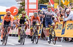 08.07.2019, Wiener Neustadt, AUT, Ö-Tour, Österreich Radrundfahrt, 2. Etappe, von Zwettl nach Wiener Neustadt (176,9 km), im Bild v.l.: Jonas Koch (CCC Team, GER), Jannik Steimle (Team Vorarlberg Santic, GER), Emils Liepins (Wallonie Bruxelles, FRA), Tom Devriendt (Wanty Groupe Gobert, BEL) // v.l.: Jonas Koch (CCC Team, GER), Jannik Steimle (Team Vorarlberg Santic, GER), Emils Liepins (Wallonie Bruxelles, FRA), Tom Devriendt (Wanty Groupe Gobert, BEL) during 2nd stage from Zwettl to Wiener Neustadt (176,9 km) of the 2019 Tour of Austria. Wiener Neustadt, Austria on 2019/07/08. EXPA Pictures © 2019, PhotoCredit: EXPA/ JFK
