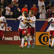 Bradley Wright-Phillips, New York Red Bulls, is congratulated by Dax McCarty after scoring in the first minute during the New York Red Bulls Vs Seattle Sounders, Major League Soccer regular season match at Red Bull Arena, Harrison, New Jersey. USA. 20th September 2014. Photo Tim Clayton