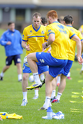 Bristol Rovers' Matt Harrold and Bristol Rovers' David Clarkson - Photo mandatory by-line: Joe Meredith/JMP - Tel: Mobile: 07966 386802 24/06/2013 - SPORT - FOOTBALL - Bristol -  Bristol Rovers - Pre Season Training - Npower League Two
