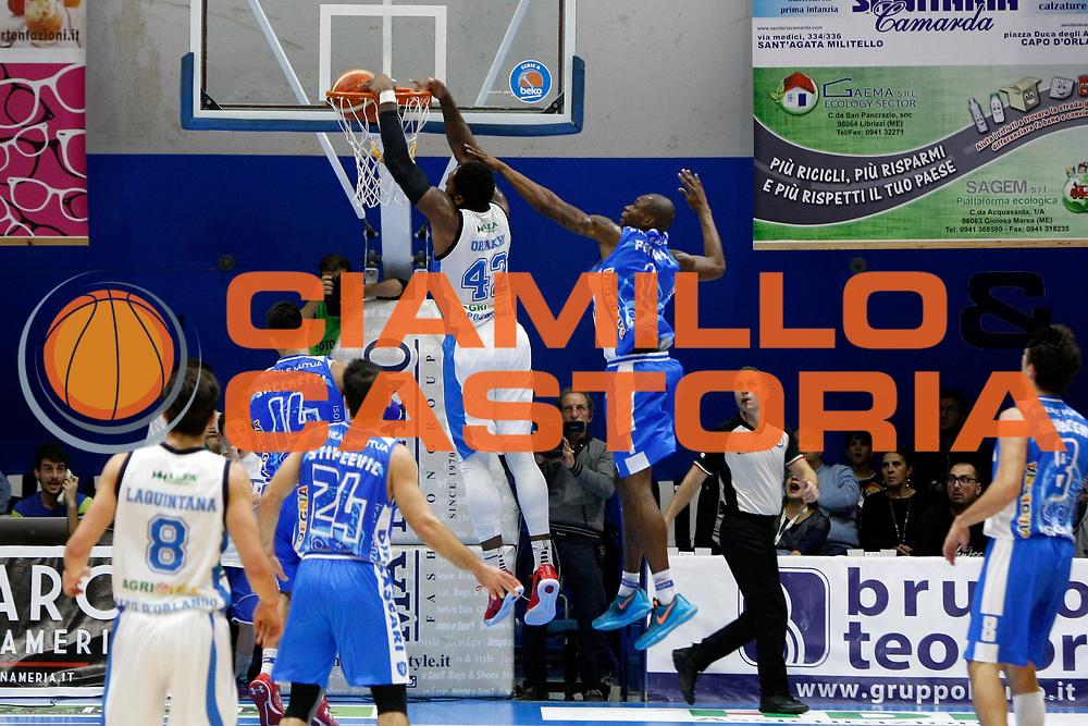 DESCRIZIONE : Capo dOrlando Lega A BEKO 2015-16 Betaland Orlandina Basket Banco di Sardegna Sassari  <br /> GIOCATORE :  Alex Oriakhi<br /> CATEGORIA :  Controcampo Schiacciata<br /> SQUADRA : Betaland Upea Capo dOrlando <br /> EVENTO : Campionato Lega A BEKO 2015-2016 <br /> GARA : Betaland Orlandina Basket Banco di Sardegna Sassari<br /> DATA : 30/11/2015<br /> SPORT : Pallacanestro <br /> AUTORE : Agenzia Ciamillo-Castoria/G. Pappalardo <br /> Galleria : Lega Basket A BEKO 2015-2016 <br /> Fotonotizia : Capo dOrlando Lega A BEKO 2015-16 Betaland Orlandina Basket Banco di Sardegna Sassari