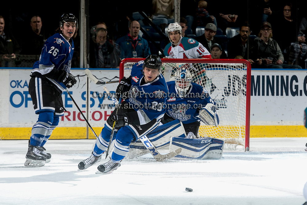 KELOWNA, CANADA - MARCH 11: Vladimir Bobylev #23 of the Victoria Royals skates for the puck against the Kelowna Rockets on March 11, 2017 at Prospera Place in Kelowna, British Columbia, Canada.  (Photo by Marissa Baecker/Shoot the Breeze)  *** Local Caption ***