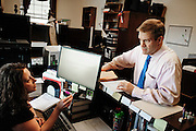 Rep. Jim Jordan (R-OH) confers with executive assistant and scheduler Missy Evans in his office in the Longworth House Office Building on Capitol Hill. (Photo For The Dispatch by Pete Marovich)