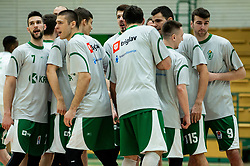 Players of Krka prior to the basketball match between KK Krka and KK Petrol Olimpija in 22nd Round of ABA League 2018/19, on March 17, 2019, in Arena Leon Stukelj, Novo mesto, Slovenia. Photo by Vid Ponikvar / Sportida