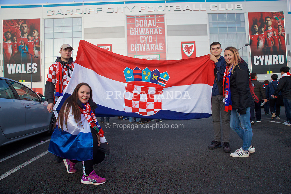 CARDIFF, WALES - Sunday, October 13, 2019: Croatia supporters outside the stadium before the UEFA Euro 2020 Qualifying Group E match between Wales and Croatia at the Cardiff City Stadium. (Pic by Laura Malkin/Propaganda)