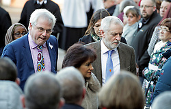 © Licensed to London News Pictures. 01/12/2017. Connah's Quay, UK. MARK TAMI MP (left), Labour party leader JEREMY CORBYN and his wife LAURA ALVAREZ arrive for the funeral of Carl Sargeant, who died four days after stepping down from his post in the Welsh Government after unspecified allegations of sexual harassment were made against him. He had denied the allegations. Photo credit: Joel Goodman/LNP