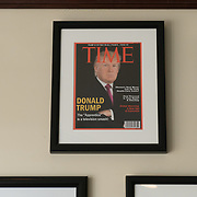 DORAL, FLORIDA, JUNE 24, 2017<br /> Framed portrait of President Donald Trump on the cover of a TIME Magazine and other magazine covers framed and hanging from a wall at the Trump National Doral Miami Golf Shop.<br /> (Photo by Angel Valentin/Freelance)