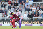 Rovman Powell delivered a bouncer during the One Day International match between England and West Indies at Old Trafford, Manchester, England on 19 September 2017. Photo by George Franks.
