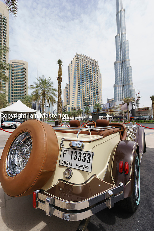 Vintage cars on display at the Emirates Classic Car Festival March 2015 in Downtown district of Dubai United Arab Emirates