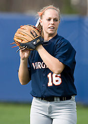 Virginia Cavaliers OF Whitney Holstun (16) in action against UMD.  The Virginia Cavaliers softball team fell to the Maryland Terrapins 8-3 in the second game of a doubleheader at The Park in Charlottesville, VA on March 24, 2007.