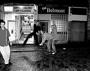 A group of drunk lads, messing about in the street, Aberdeen, Scotland, 2005