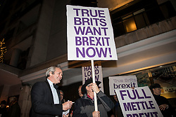 © Licensed to London News Pictures. 05/12/2017. London, UK. UKIP supporters protest outside the 'Exit From Brexit Dinner' outside the Carlton Jumeirah Hotel in Knightsbridge, London. Guests at the £200-a-head dinner are said to include Nick Clegg and David Lammy. Photo credit: Rob Pinney/LNP