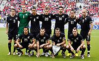 Fotball<br /> Serbia v New Zealand<br /> Klagenfurt Østerrike<br /> 29.05.2010<br /> Foto: Gepa/Digitalsport<br /> NORWAY ONLY<br /> <br /> FIFA Weltmeisterschaft 2010 in Suedafrika, Vorberichte, Soccer Camps Kaernten, Vorbereitung, Vorbereitungsspiel, Freundschaftsspiel, Laenderspiel, Neuseeland vs Serbien. <br /> <br /> Bild zeigt die Mannschaft von NZL mit Tony Lochhead, Mark Paston, Winstin Reid, Chris Wood, Rory Fallon, Leo Bertos, Simon Elliot (hinten); Jeremy Christie, Tommy Smith, Ryan Nelsen und Shane Smelitz (NZL). <br /> Lagbilde New Zealand
