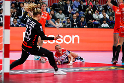 06-12-2019 JAP: Norway - Netherlands, Kumamoto<br /> Last match groep A at 24th IHF Women's Handball World Championship. / The Dutch handball players won in an exciting game of fear gegner Norway and wrote in the last group match at the World Handball  World Championship history (30-28). / Tess Wester #33 of Netherlands, Heidi Loke #6 of Norway, Lois Abbingh #8 of Netherlands, Martine Smeets #24 of Netherlands