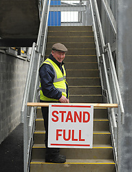 Clare GAA official puts up a stand full sign at 11.55 .<br />Pic Conor McKeown