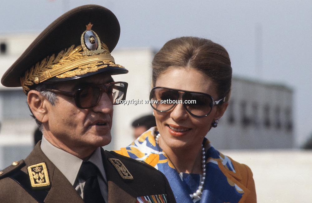 Iran - The royal family . the shah of Iran, Mohamed reza palhavi, and farah diba. visit in Machad - arrival at the airport and military parade  -  Mashad +