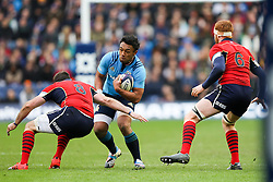 28.02.2015.  Edinburgh, Scotland. 6 Nations Championship. Scotland versus Italy.  Scotland's Johnnie Beattie (left) and Robert Harley challenge Italy's Kelly Haimona.
