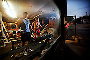 UNADILLA, NE -- 9/29/2010 -- Kurt Bartling (left) and his brother Jim work out at the gym they built in Unadilla.<br /> JACOB HANNAH/Lincoln Journal Star