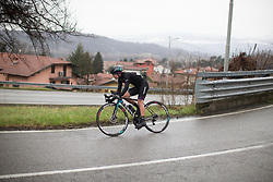 Alena Amialiusik (BLR) of CANYON//SRAM Racing rides in the break during the Trofeo Alfredo Binda - a 131,1 km road race, between Taino and Cittiglio on March 18, 2018, in Varese, Italy. (Photo by Balint Hamvas/Velofocus.com)