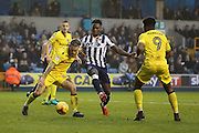 Millwall midfielder Fred Onyedinma (10) battles for possesion with Bristol Rovers midfielder Stuart Sinclair (24) during the EFL Sky Bet League 1 match between Millwall and Bristol Rovers at The Den, London, England on 12 November 2016. Photo by Matthew Redman.
