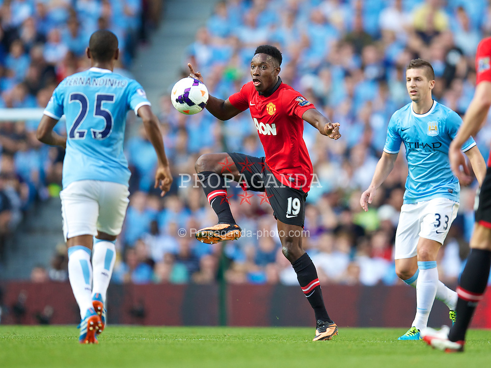 MANCHESTER, ENGLAND - Sunday, September 22, 2013: Manchester United's Danny Welbeck in action against Manchester City during the Premiership match at the City of Manchester Stadium. (Pic by David Rawcliffe/Propaganda)