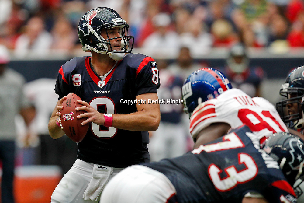 October 10, 2010; Houston, TX USA; Houston Texans quarterback Matt Schaub (8) looks to throw a pass against the New York Giants during the first half at Reliant Stadium. Mandatory Credit: Derick E. Hingle