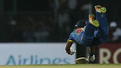 March 12, 2018 - Colombo, Sri Lanka - Sri Lankan cricketer  Danushka Gunathilaka dives in for a run during the 4th Twenty-20 cricket match of NIDAHAS Trophy between Sri Lanka  and India at R Premadasa cricket ground, Colombo, Sri Lanka on Monday 12 March 2018. (Credit Image: © Tharaka Basnayaka/NurPhoto via ZUMA Press)